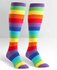 Sock It To Me Women's Curvy Knee High Socks - Super Juicy Fruit Multi Striped