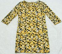 H&M Dress Woman's Yellow White Gray Black 3/4 Sleeve Size Four 4 Polyester Blend