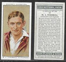 PLAYER'S 1934 CRICKETERS M.J.TURNBULL Card No 28 of 50 CRICKET CIGARETTE CARD