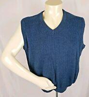 LYLE & SCOTT Mens Sz L 100% Combed Cotton V-Neck Blue Green Knit Sweater Vest