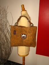 GRAND SAC A MAIN CUIR SUEDé & CUIR LISSE LEATHER BIG BAG SAVE THE QUEEN NEUF