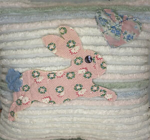 NEW Handmade Leaping Bunny Pillow  Vintage Chenille Bedspread  Beautiful!