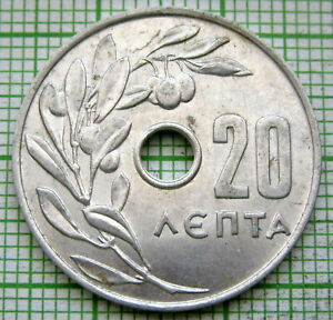 GREECE CONSTANTINE II 1969 20 LEPTA, OLIVE BRANCH ALUMINIUM UNC