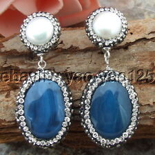 H030813 White Pearl Agate Earring-925 Silver lever back