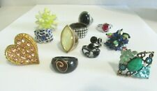 FASHION RINGS LOT LARGE VARIETY ELEVEN MIXED STRETCH ADJUSTABLE OTHER WEARABLE