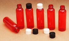 2 Oz Empty  Plastic Red PET Bottles w/ Black Ribbed Lids  ( 20 PACK)