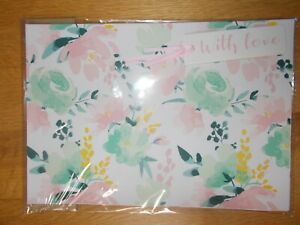"""PINK, CREAM & GREEN FLORAL GIFT WRAP AND """"WITH LOVE"""" TAG SET - 2 SHEETS & 2 TAGS"""