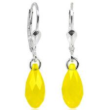 Ohrringe Tropfen mit Swarovski kristallen 925 Sterling Silber gelb NOBEL
