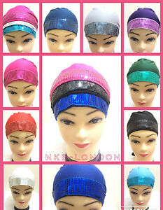 Ladies NEW Sequine Shimmer Bonnet Caps Hijab Under Scarf Full Head Cover CAP