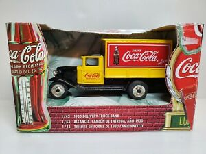 1999 Ertl 1:43 Scale Coca Cola 1930 Delivery Truck Bank Die Cast Yellow #27230