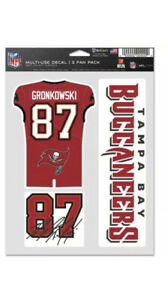 ROB GRONKOWSKI #87 TAMPA BAY BUCCANEERS 3-MULTI USE DECALS FAN PACK WINCRAFT 🔥