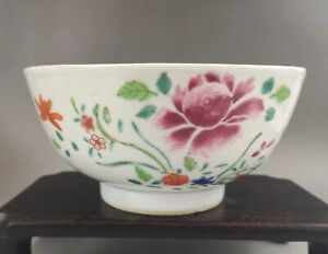 A fine Chinese 18C famille rose floral bowl-Qianlong