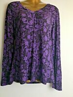 Lily Ella 12 Tall Purple Leaf Pattern V Neck Stretch Long Sleeve Top Blouse