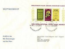 DDR Ersttagsbrief 15.Geburtstag von Karl Marx + 15 Karl Marx Briefmarken Postfr.