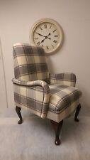 Custom Bespoke Made to Order Small Bedroom Armchair Cream Alderney Check Tartan