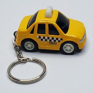 Taxi Cab Keychain Pull Back And Go Toy Yellow Checker Cab Novelty Key Ring