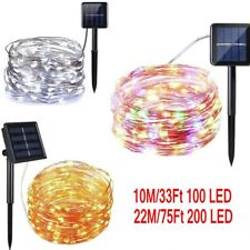 Outdoor Solar Powered 22M 75Ft 200LED Copper Wire Light String Fairy Party Decor