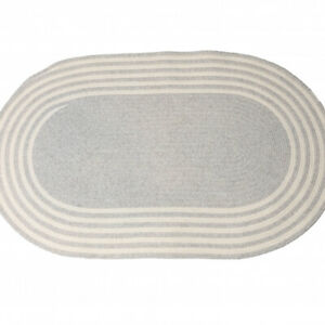 Narragansett Gray White Wool Country Farmhouse Oval Round Braided Rug