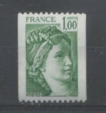 FRANCE TIMBRE ROULETTE 1981Aa N° rouge au verso SABINE vert - LUXE **