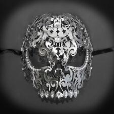 Skull Metal Venetian Masquerade Mask for Men or Women, Silver Masquerade Mask