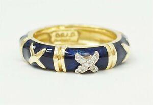 HIDALGO 18K 750 Yellow Gold Blue Enamel X Diamond Stackable Band Ring