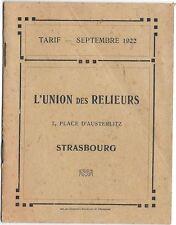 catalogue tarif 1922 UNION DES RELIEURS .RARE