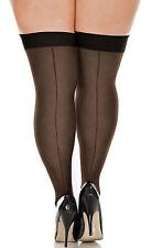 Plus Size Sheer Nylon Back Seam Retro Style Thigh High Stockings (10000Q)