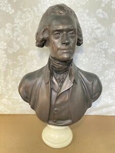 Vintage Thomas Jefferson  Large Patinated Metal Bust Marble Socle after Houdon