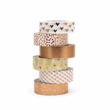 Washi Tape Set Silver Foil Rose Gold Copper Hearts Polka Dots 6 x 10m