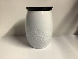 Starbucks Coffee Jar Large Storage Embossed Starbucks Siren Logo Wooden Lid