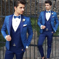 Blue Men's Suit Wedding Party Groom Prom Jacquard Peak Lapel Formal Tailored Fit