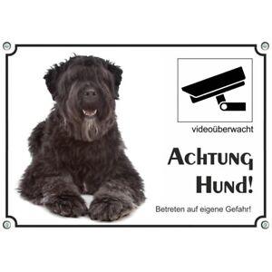 Hundeschild - Bouvier des Flandres - stabiles Warnschild - videoüberwacht - wett