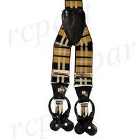 New in box Men's Suspender Braces Elastic Strap plaid & Checkers Brown