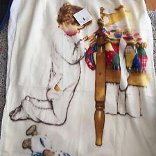 Norman Rockwell Blanket Boys Town Nightly Prayer Throw Fleece NEW NWT Ivory
