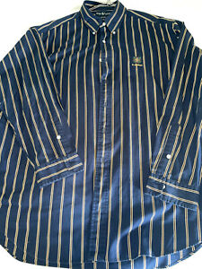 Geniune Ralph Lauren dress shirt dark blue and cream stripe, classic fit XL