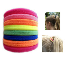 8 Hair Bobbles Ponytail Band Elastic Fluorescent Colour Soft Scrunchy Thick Updo