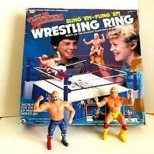WWE Wrestling Ring Sling-em - Fling-em & Figures Hulk Hogan &Iron Sheik Complete
