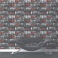 """13483-20-519 toile papier peint /""""Infinity/"""" petit motif noir argent avec brillant"""