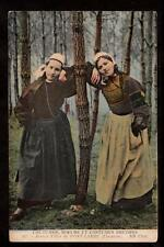 ND phot two girls in traditional dress costumes bretons france postcard