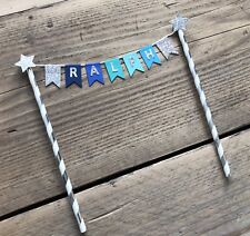 Blue Teal Cake Bunting Cake Topper - Personalised