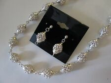 VINTAGE ESTATE STERLING SILVER NECKLACE AND EARRING SET (PIERCED)