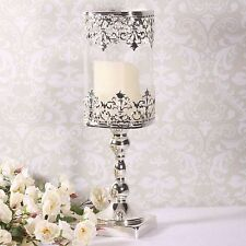 Glass and Silver Votive Candle Holder Stand Wedding Art Decor Centerpiece 33cm