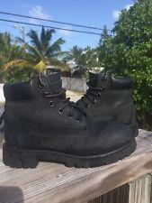 "TIMBERLAND 6"" Premium Waterproof Boots All Black, Leather As 13y (4-5yo) Kids 13"