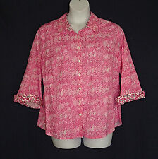Westbound Woman Pink White Wrinkle Free Cotton Spring Top Blouse Plus Size 2X 1X