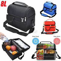 US Insulated Lunch Bag, Leakproof Thermal Bento Cooler Tote Dual Compartment @