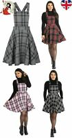 HELL BUNNY ISLAY PINAFORE DRESS TARTAN mini CHECK PINK RED