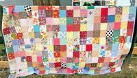 "Vintage Handmade Quilt Machine Stitched Scraps Novelty Prints Twin Sz 92"" x 75"""