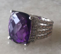 925 Sterling Silver Checkerboard 16 x 12mm Purple Amethyst Wheaton Ring Size 7