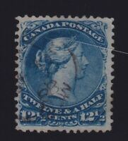 Canada Sc #28 (1868) 12&1/2c blue Large Queen Used w/Dated CDS