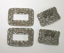 Two sets Vintage Shoe Ornaments - Filigree Clips - Silver Tone Accents